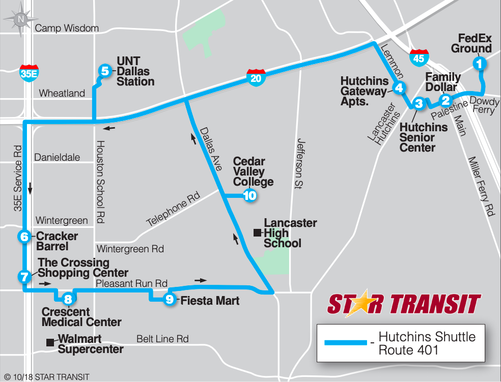 Route map for Hutchins Shuttle